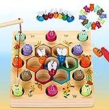 LETOMY Magnetische Angelspiel Holzspielzeug 2 in 1 Montessori...