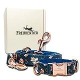 FREUDENTIER® Hundehalsband & Hundeleine (2m) im Set | Inkl....